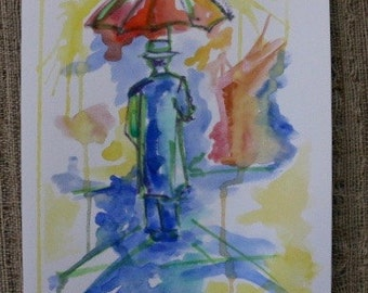 Man with an Umbrella Watercolor Painting by Olivia Rose Art