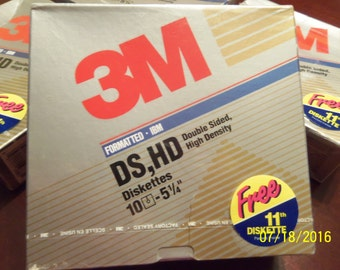 """3M Formatted IBM DS,HD Diskettes (5 1/4"""") box of 11 still factory sealed"""