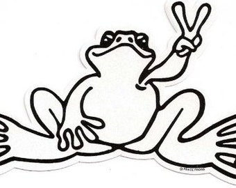 Peace frogs reflective frog sticker 6 quot x 3 quot vinyl made in the