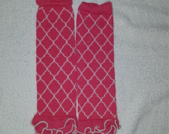 Pink ruffle leg warmers