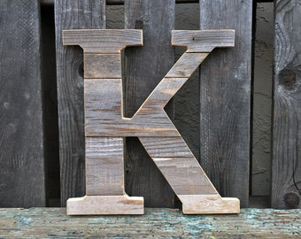 Custom Letter Reclaimed Wood Wall Art, Handmade, Rustic and Distressed, Customizable