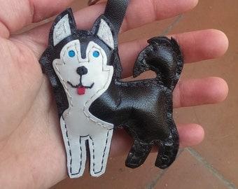 Leather Key Ring, Husky Siberian Leather Keychain, Best Keychain, Cool Keyrings