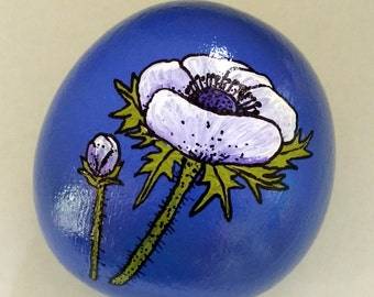 Blue Anemone Hand Painted Beach Stone