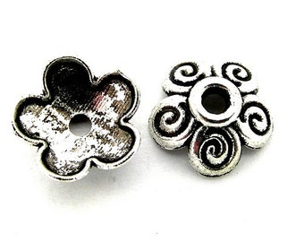 30 Flower Bead Caps Antique Silver Tone 10mm Jewellery Findings J07943