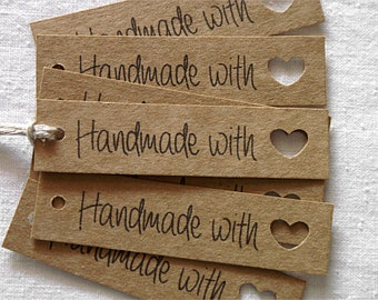 26 Handmade With Love Tags - Handmade With Love Labels - Kraft Lebels - Kraft Tags- Gift Wrapping - Gift Packaging - Shop Supplies