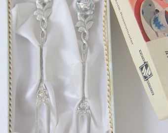 Two Vintage Antik Rosenmuster Silver Plate Cocktail Forks in Original Box, Wirths Bestecke Germany