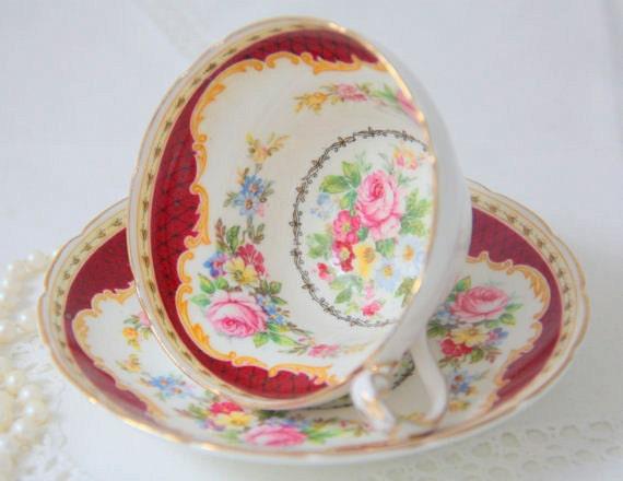 RESERVED For BYR Vintage EB Foley Bone China Teacup and Saucer, Windsor Pattern, Numbered, Made in England