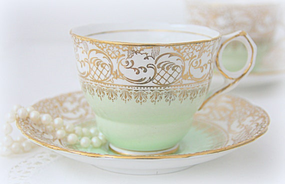 RESERVED FOR TAYLOR Vintage Royal Stafford Bone China White and Soft Green Cup and Saucer, Gold Decor, England