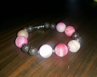 Stackable, aroma therapy natural stone bracelet.