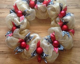Christmas wreath, Christmas wreaths for double doors, gold Christmas wreath, large Christmas wreath