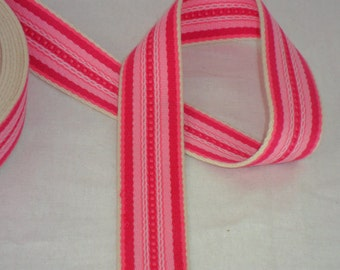 35mm Cotton CANVAS Webbing Tape Multi Colour Bag Strap BELT Stripe Pattern PINK Red Straps Making Pure Cotton