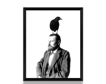 Surreal Art Print, Animal Art Print, Crow with Man, Black and White Art, Crow Art Print, Fairy Tale Art