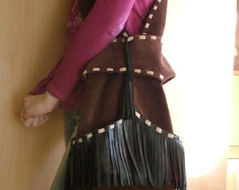 Handbag made of genuine leather, handmade boho bag