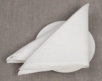White Linen 4 Napkins, Linen Napkins, Wedding Linen Napkins, Table Decoration, Dining Table Napkins, Christmas Gift