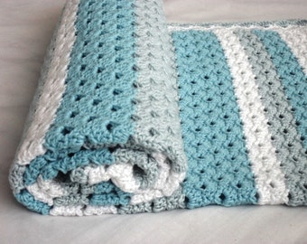 "Crochet baby blanket pattern ""Blue dreams"",white & turquoise newborn baby afghan,homemade baby shower gift,PDF pattern row-by-row US terms"