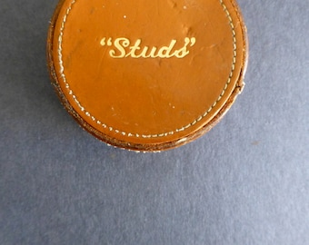 Vintage Gentlemen's Leather 'Studs' Box with various Cufflinks and Studs.