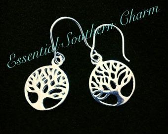 Tree of Life Sterling Silver Dangle Earrings
