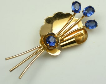 1940s  Coro Pin with Blue Rhinestones