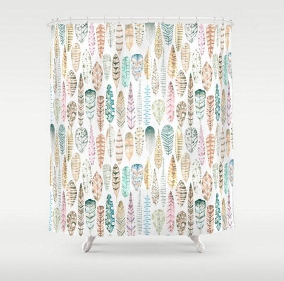 Mint Shower Curtain Floral Cherry Blossoms White Mint
