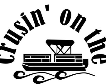 Crusin On The Pontoon Window Wall Decal Truck Boat Trailer Summer Lake Cottage Pond