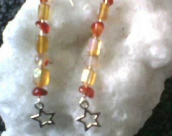 Fire element silver earrings