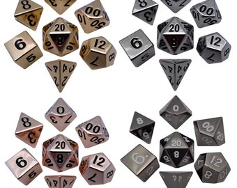Solid, Heavy Metal Dice: 16mm Shiny Plated Polyhedral Dice Sets.  Built to last!