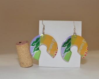 "Fifth Wheel earrings made from ""Arizona Iced Tea - Mucho Mango"" can"