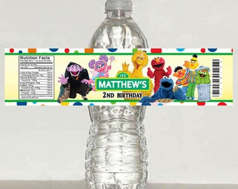 Printed Sesame Street Birthday Water Bottle Label -Elmo Cookie Monster