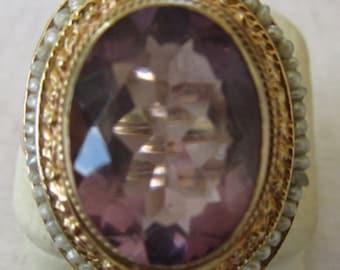 14k Estate Vintage Amethyst Pearl Ring