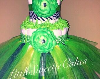 3 Tier Lime Green Tutu Diaper Cake, Zebra Diaper Cake, lime green baby shower decor, jungle theme Baby girl shower centerpiece