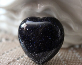 Midnight Goldstone Heart