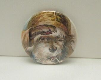 Pocket Mirror, Purse Mirror, Dog Pocket Mirror, Dog Mirror, Captain Dog, Dog with Pipe, Vintage Dog, Edwardian Dog, Stocking Stuffer