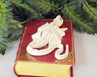 Polymer Clay White Dragon Book - Dragon Storage - White Dragon Book - OOAK - Dragon Sculpture - White Dragon - White Dragon Sculpture