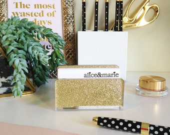 Business Card Holder-Acrylic-Gold-Glitter-Desk-Accessory-Made in USA