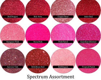 Spectrum Glitter Mix: Reds- Pinks (12 colors)