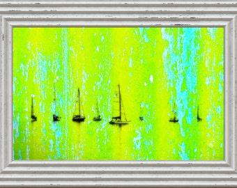 Boat Print,#Harbor,#Painting,#Art,#Sea,#ocean,#beach,#Green,#Yellow,#Lime,#Blue,#homeDecor,#Vacation,#Bright,#InteriorDesign,#water