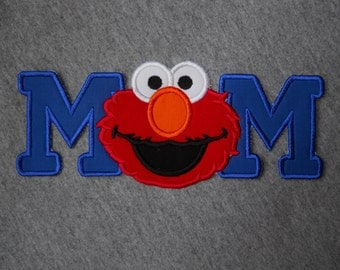 Made to order ~ MOM with Red Monster  iron on or sew on applique patch
