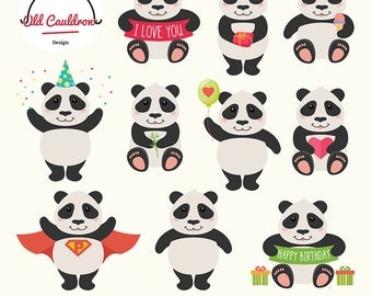 Happy pandas clipart, birthday clipart, valentines clipart, animal, clipart, vector graphics, digital images, vector clipart CL044