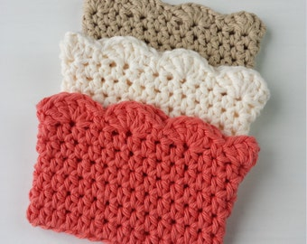 Crochet Coffee Sleeves with Scallop Edge/100% Cotton/Crochet Gifts/Cotton Gifts - Set of 3