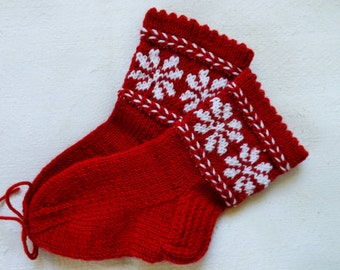 Girls socks,Handknit girls socks,Wool socks,Red girls socks