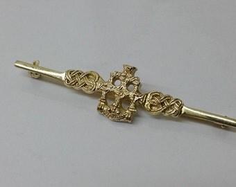 Old bar brooch Silver 925 gilt antique SB189
