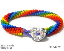 Tutorial for Rainbow Kumihimo Bracelet with Seed beads Instant Download PDF Beading Pattern