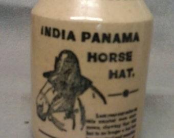 India Panama Horse Hat Salad Dressing Jug Jar