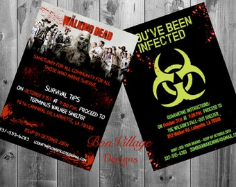 the walking dead zombie halloween invitations digital copy or prints quarantine infected walker - Zombie Halloween Invitations