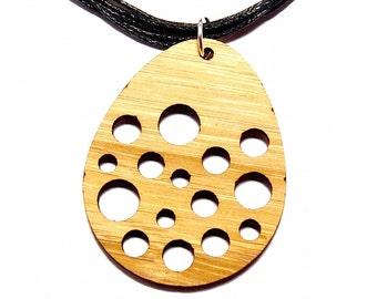 Spotty Egg Bamboo Pendant Necklace // Bamboo Necklace / Bamboo Pendant / Wooden Necklace / Wooden Jewellery / Wooden Jewelry / Wood Pendant