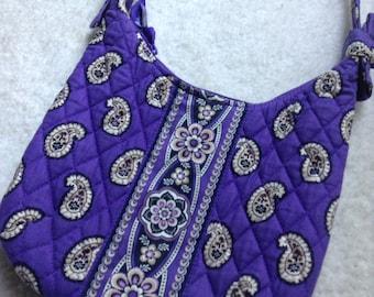 NEW Vera Bradley Simply Violet Olivia Shoulder Purse- Floral, Paisley, Preppy, Handbag, Small, Black, Purple, Bow, Quilted