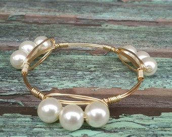 Triple Pearl Gold Wire Wrapped Bangle Bracelet inspired Bourbon and Bowties