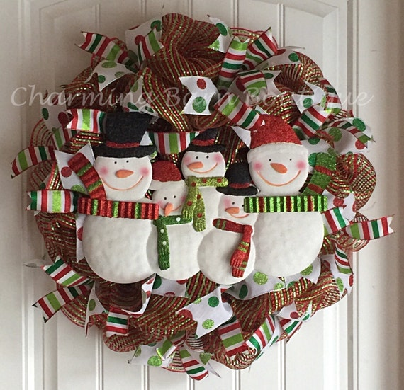 Christmas Snowman Wreath Snowman Family Christmas Mesh