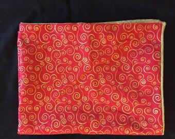 Red spiral tarot cloth