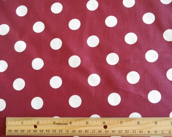 Burgandy with White Dots cotton fabric by the yard
